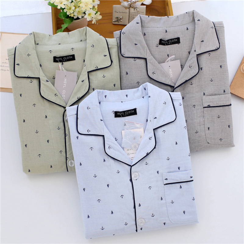New Men's Pajama Sets House Clothes Suits Summer Sailboat Anchor Suit Cotton Double-layer Pajamas Gauze Long-sleeved Trousers