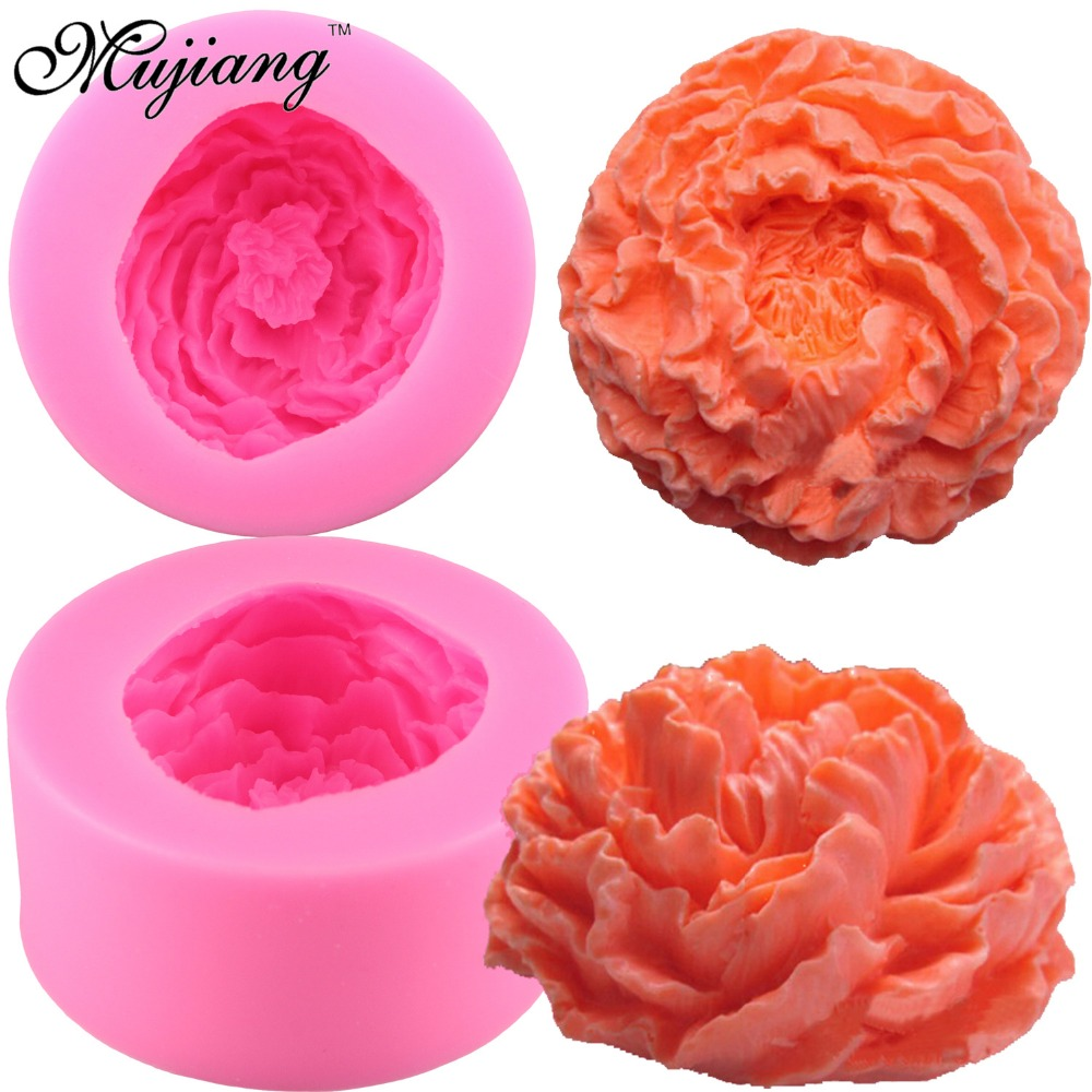 Peony Flower Silicone Soap Molds Resin Clay Candle Mold Fondant Chocolate Stencil Sugarcraft Cake Decorating Tools Q192
