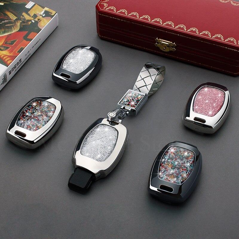 Key Case Cover Cristal Diamant porte-clés Pour Mercedes-Benz AMG C180 CLK E260L CLA CLS R S320 SLK s400 GLK GLA 3 bouton clé cove