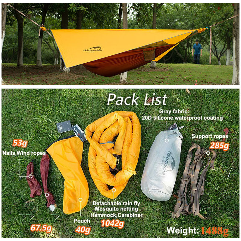 Naturehike Ultralight 20D Hammock 1 Person Tent Mosquito Nets Single Person  Outdoor Hanging Tree Tent Camping Hammock Swing In Tents From Sports ...