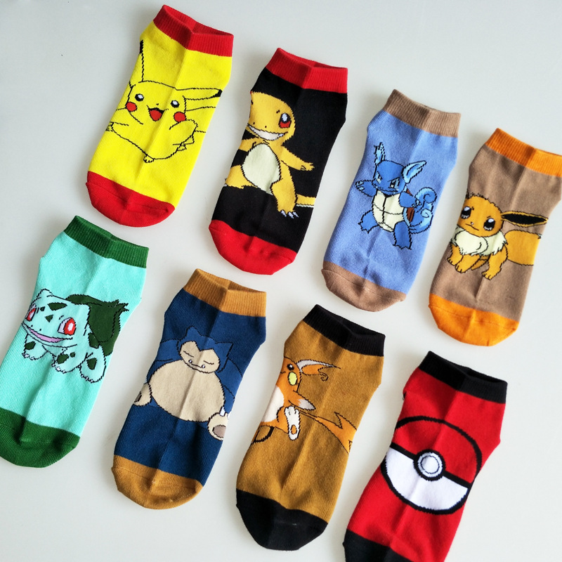 8/PCS Pokemon Go Ankle Socks Pocket Monster Cosplay Socks Pikachu Charmander Cartoon Pattern Antiskid Casual Socks