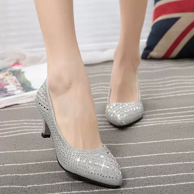 Silver Rhinestone Wedding Shoes Luxurious Pointed Toe Nude Pumps Crystal Women Low Heel