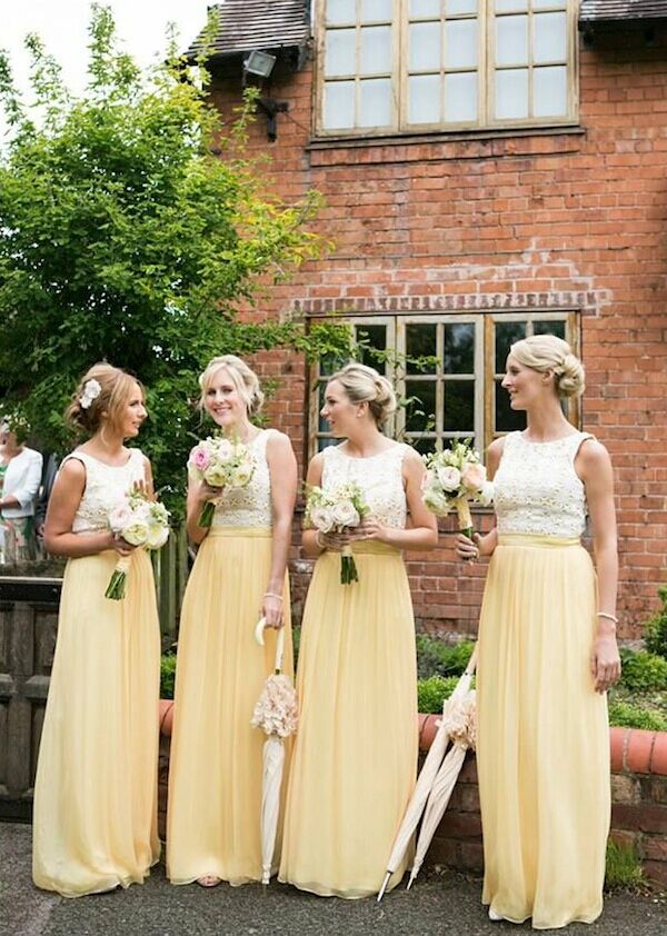 Vestido Para Madrinha Sleeveless Lace Top Lemon Yellow Chiffon Bridesmaid Dresses Long Floor Length Custom Made On Aliexpress Alibaba Group