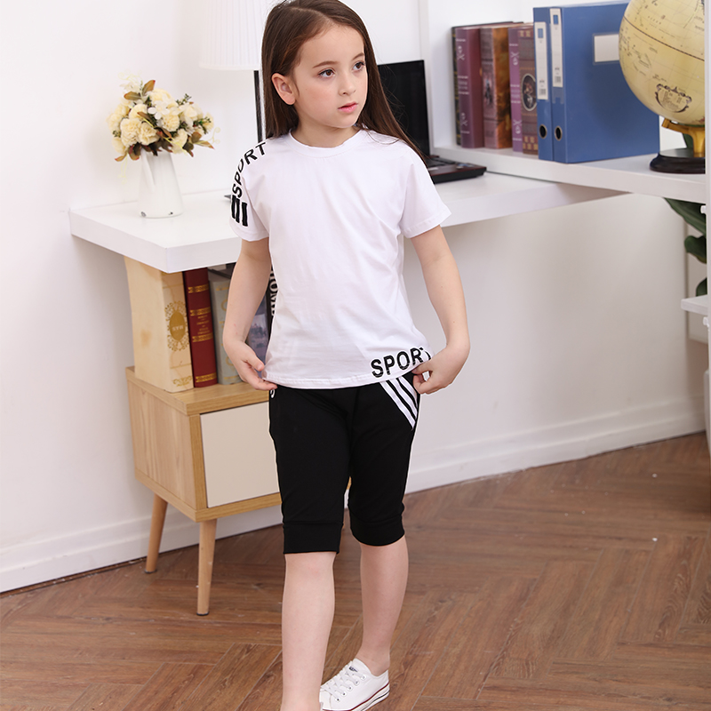 Children's Clothing Girls Summer Sport Suits 2018 Children Casual Short-sleeved Cotton Two-piece Tracksuits for Teenagers