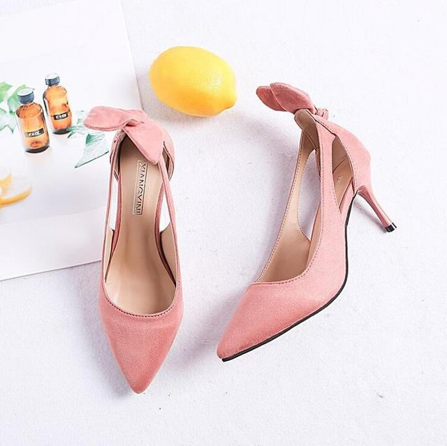 2019 New Women shoes Pumps High heels Ladies flock Thick with spring Pointed Single Shoes women Sandals Plus size 34-43 **096