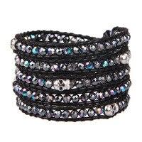 KELITCH Men Punk Hip pop Style Skull Bracelet Brilliant Crystal Beads Wrap Bracelet Handmade Leather Cuff Bangles Jewelry Unisex