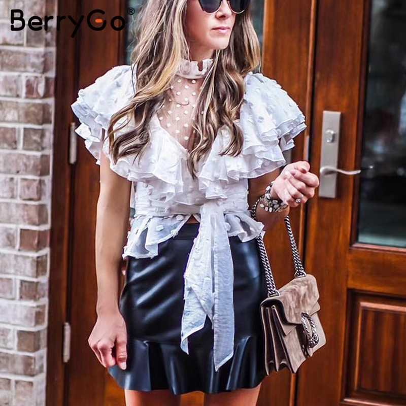 BerryGo エレガントなフリル袖女性白ブラウスシャツセクシーなメッシュドット黒ブラウスヴィンテージシフォンパーティーレースブラウス