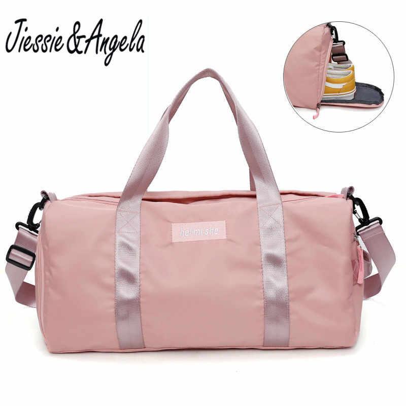 Jiessie & Angela kobiet duża torba typu tote na co dzień torby podróży szkolenia torebki pływanie joga Fitness torby na siłownię wodoodporne różowe basen plaża torba