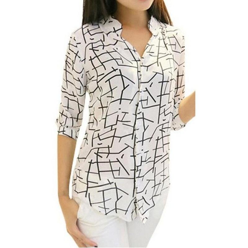 Free Ostrich women   blouse     shirt   New 2019 fashion chiffon   shirt   3/4 sleeved Print chiffon   blouse   Elegant Slim women blusas C0940