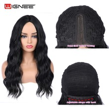 цены Wignee Lace Part Synthetic Wig For Women Middle Front Natural Black Deep Wave Long Hair Wig High Density Temperature Fake Wig