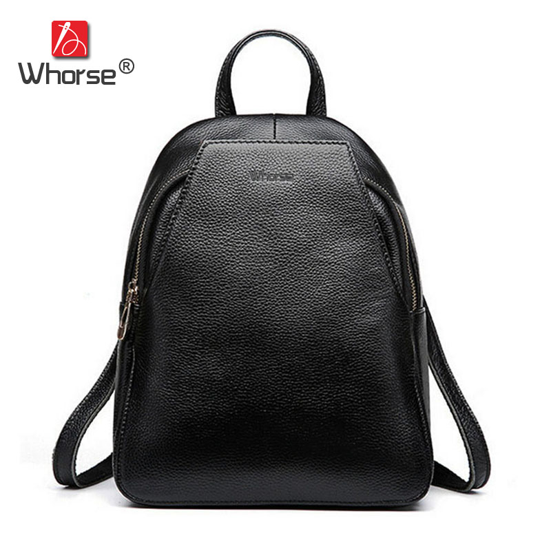 [WHORSE] Brand Women Backpack High Quality Genuine Leather School Bags For Teenagers Girls Top handle Backpacks Black W08800 aidoudou hot sale rivet women leather backpack fashion school bags for teenagers girls high quality ladies backpacks black