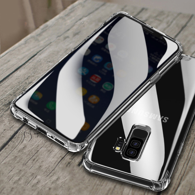 Super Shockproof Soft Silicone Case For Samsung Galaxy S8 S9 Plus Note 8 Luxury Clear Gradient Cell Phone Back Cover Etui