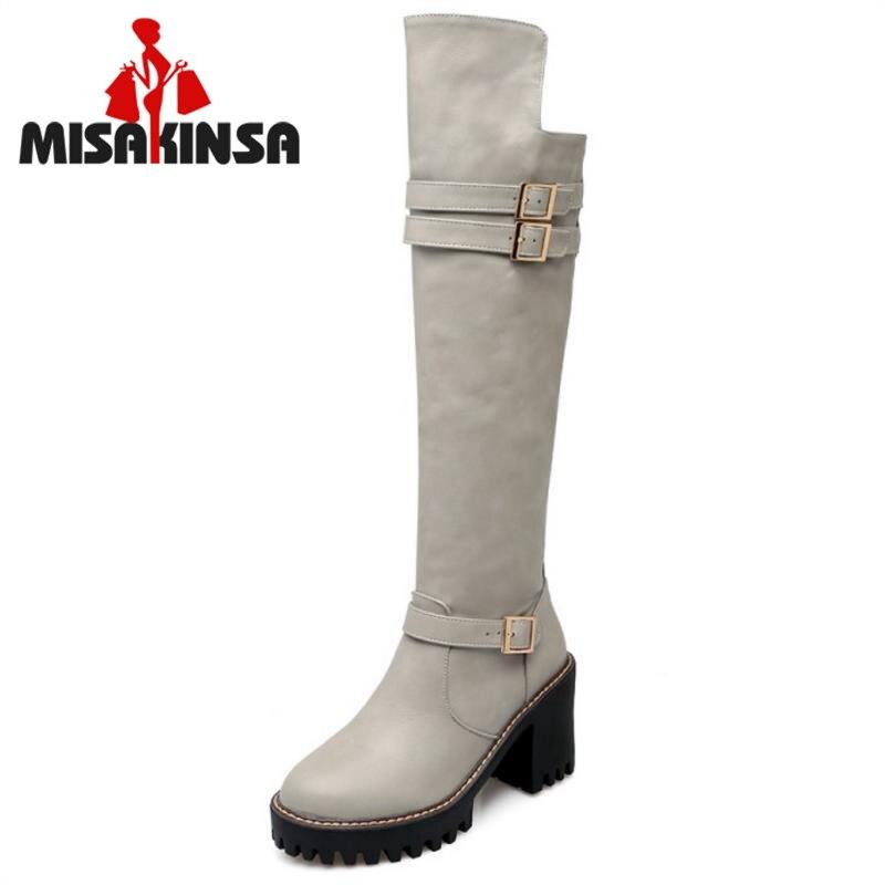 1c9abb1e3 جديد موجزة نمط المرأة بوتاس الركبة عالية فارس أحذية امرأة منصة جولة اصبع  القدم سميكة كعوب أحذية الكعب الأحذية حجم 34 -43