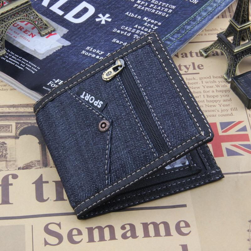 2018 Vintage Blue Jeans Canvas Men Wallet Coin Pocket Short Design Wallet Coin Purse Zipper Card Holder For Men Wallets