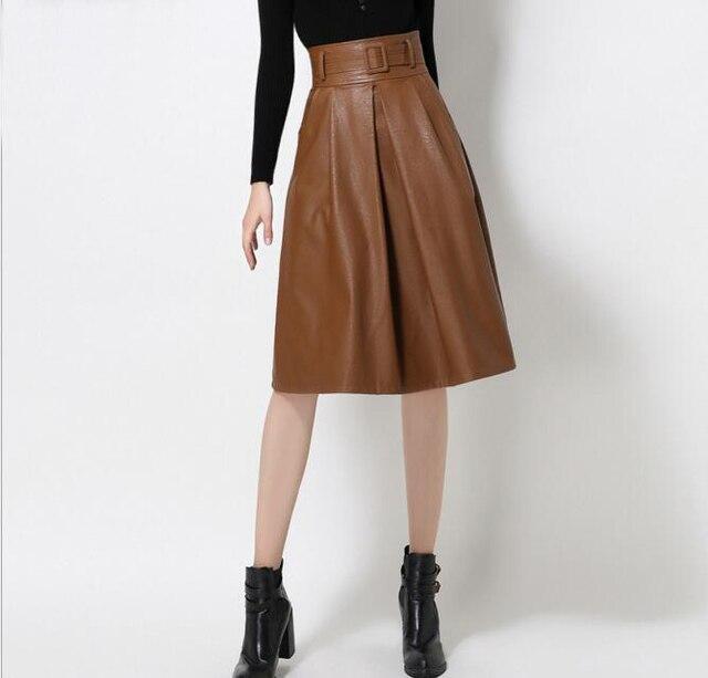 2017 mais novo inverno do outono do vintage elegante pu acolchoado de couro lavado saias mulheres cintura alta joelho comprimento da saia com cinto