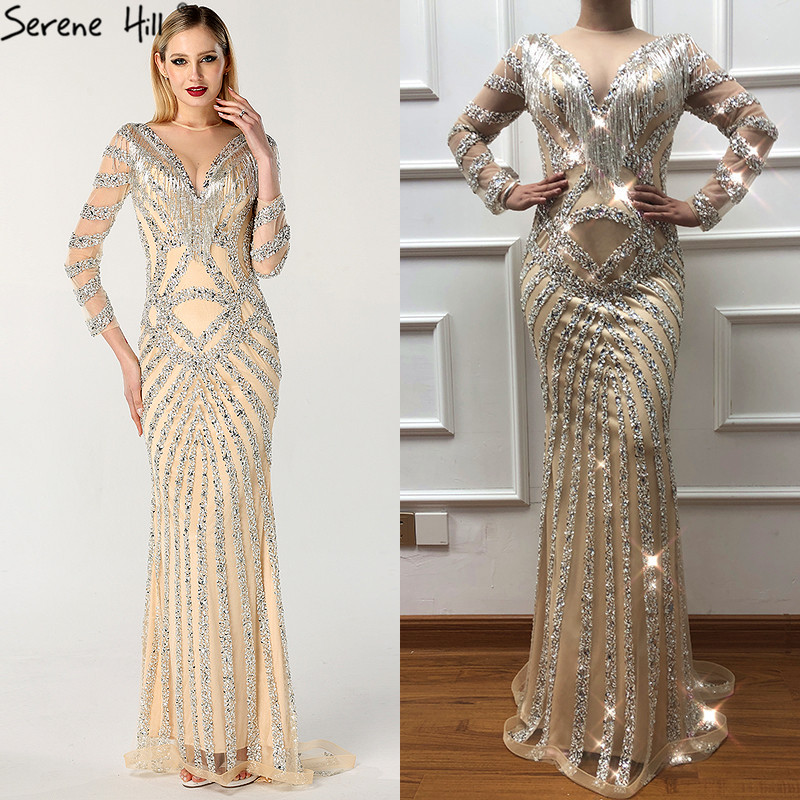 1815850d39457 New Dubai Nude Slim Mermaid Evening Dresses 2019 Long Sleeves Beading  Tassel Fashion Formal Evening Gown BLA6594
