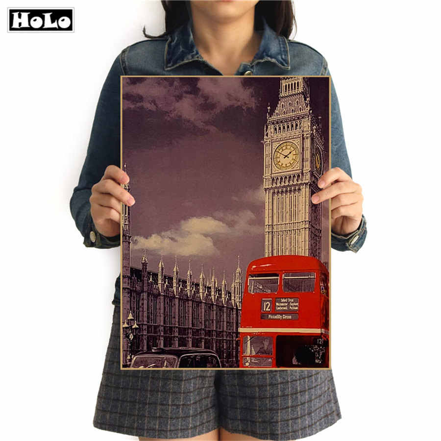 London Tower Bus Vintage poster Classic retro Movie Painting HD Bar/cafe Paint Wall art crafts Living room design 42x30cm