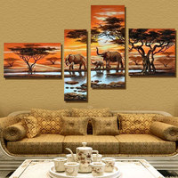 4 Panel Modern Elephant Canvas Painting Canvas Art African Landscape Picture Cuadros Decoracion For Living Room Unframed XY029