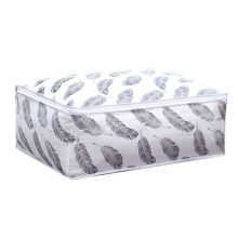 Quilt Storage Bag Feather Print Home Clothes Quilt Pillow Blanket Storage Bag Travel Luggage Organizer Bag(China)