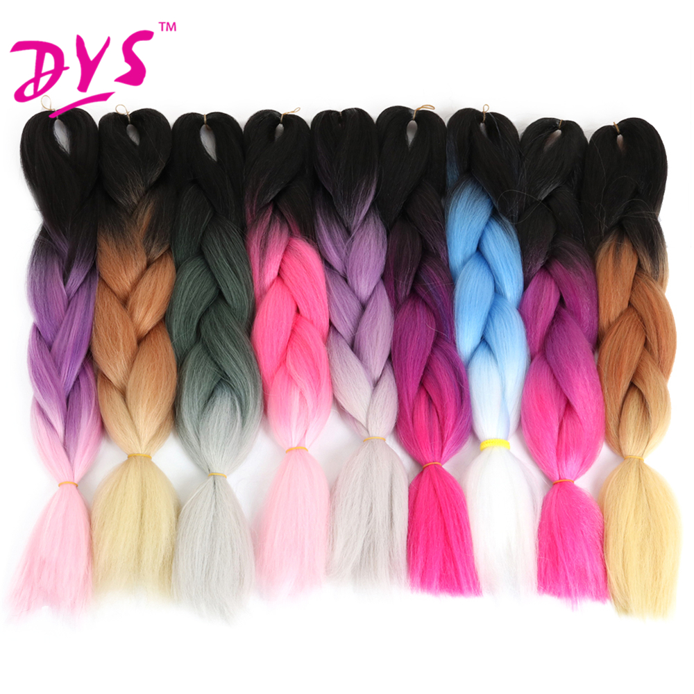 Deyngs Kinky Straight Hair-Extension Braiding-Hair Kanekalon Ombre African Two-Tone Grey/purple