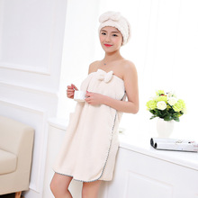 Women Bath Towel Microfiber Fabric Beach Soft Wrap Skirt Dry Hair Cap Set Super Absorbent Home For Bathroom