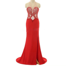 Mermaid Red Prom Dresses Beads Crystal Chiffon Trumpet Split Evening Vestido de fiesta Formal Party