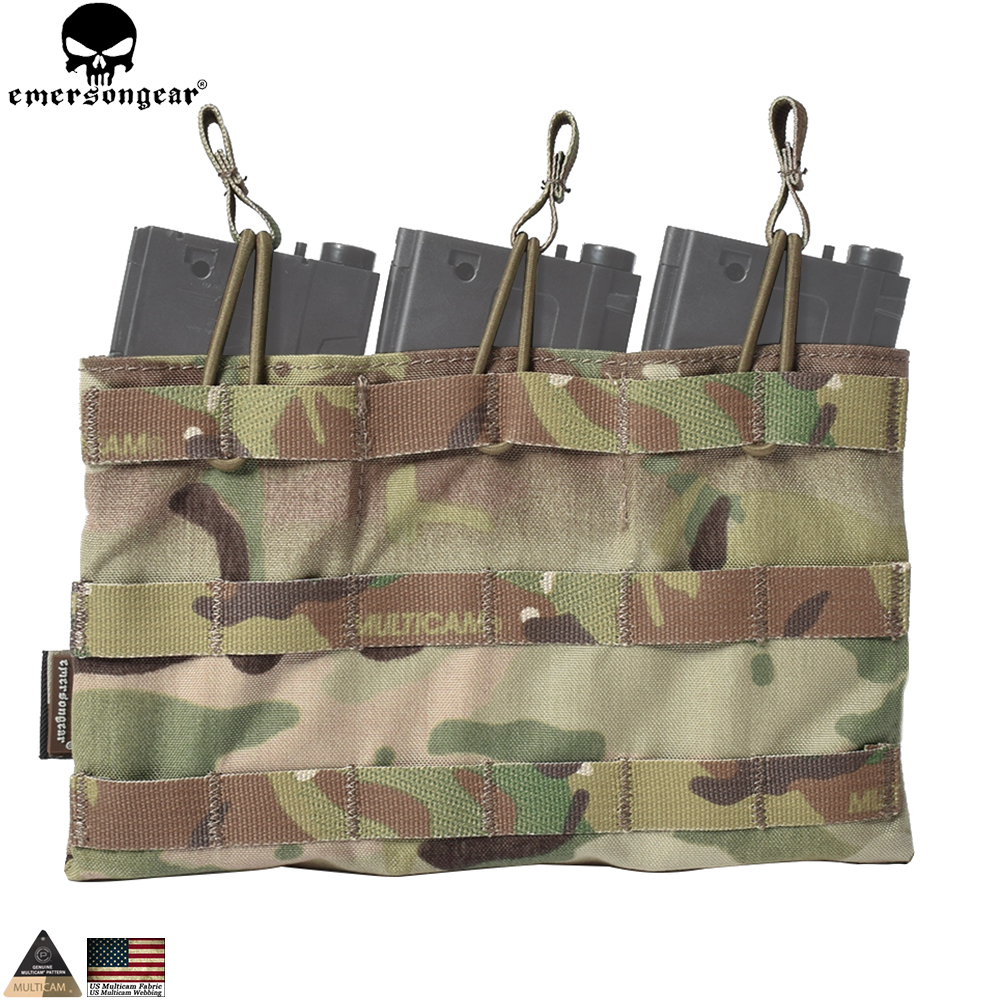 EMERSONGEAR 5.56 Triple Open Top Mag Pouch Tactical Combat Gear Molle Magazine Pouch Mag Holder Multicam Coyote Marrón EM6356