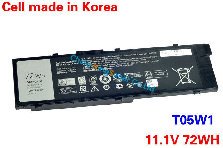 Genuine Original New Laptop Battery T05W1 For DELL T05W1 Tablet 11.1V 72WH Free Shipping 3 75v 9000mah new original laptop battery for yoga 10 tablet b8000 10 battery l13d3e31 l13c3e31 batteries free shipping