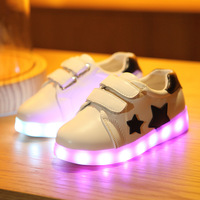 2017 spring new children's glowing shoes flat with LED luminous shoes USB charging casual shoes