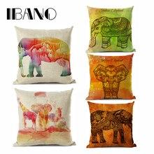 купить IBANO Indian Elephant Pattern Cushion Cover Double-side Printing High Quality Cotton/linen Cushion Pillow Case Home Decor дешево