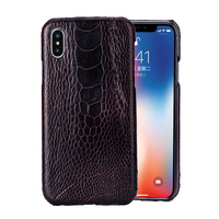 iphoneX case iphone7 8 plus XR XS max 6 6s water proof Ostrich Foot Skin case Leather Half wrapped black brown camel