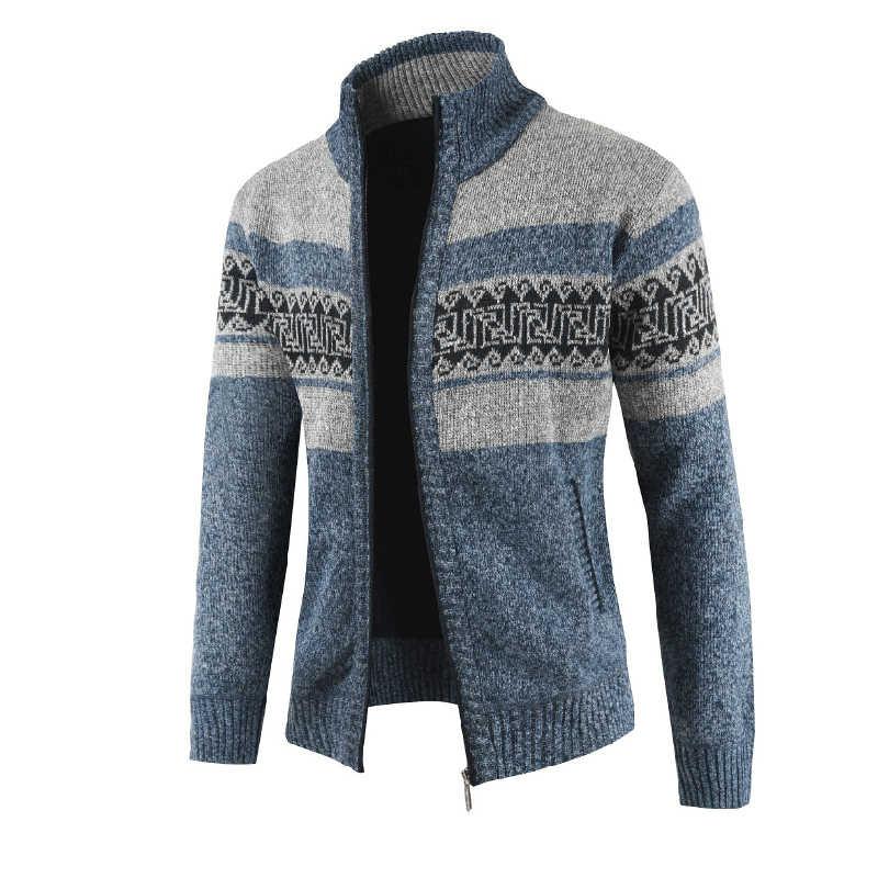 Sweater Pria Cardigan Tebal Hangat 2018 Fashion Kasual Cetak Slim Pria Lengan Panjang Sweater Cotton Fleece Zipper Sweater Rajutan