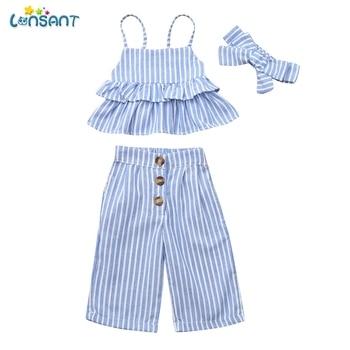a223fa050 Conjunto de ropa para niñas recién nacidas LONSANT + Pantalones + conjuntos  de diadema ropa de verano para niños ropa N30