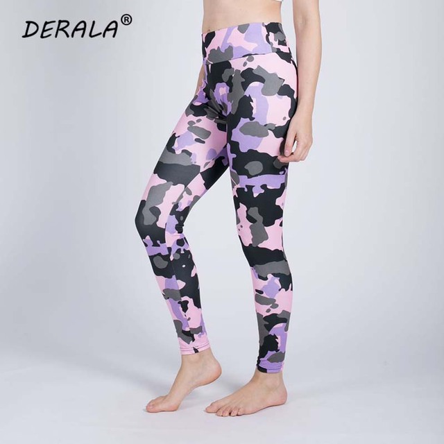 Women Stretchy Fitness Excercise Pink Camouflage Leggings Ladies Summer Digital Print Camo Leggings Workout Active Pants 5