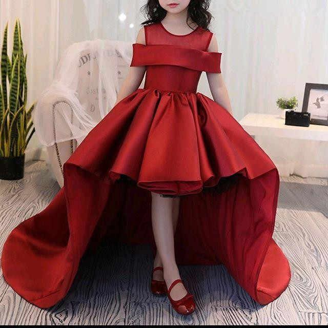 יפה אדום פרח בנות שמלות 2021 תכשיט כתם Hi-Lo לטאטא רכבת בנות תחרות שמלות צד פורמלי שמלות הקודש שמלות