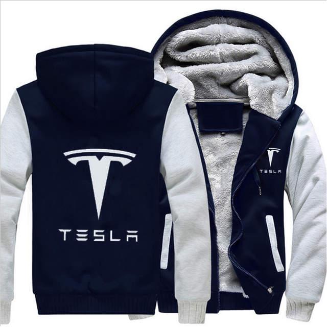 42ebd5bad12 MIDUO 2018 Winter Coat Tesla Logo Men Zipper Hoodies Long Sleeve Ringer  Letter Printed Sweatshirt Mens