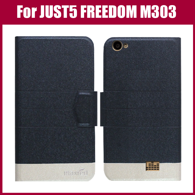 Hot Sale! JUST5 FREEDOM M303 Case New Arrival 5 Colors Flip Ultra-thin Leather Protective Cover For JUST5 FREEDOM M303 Case image