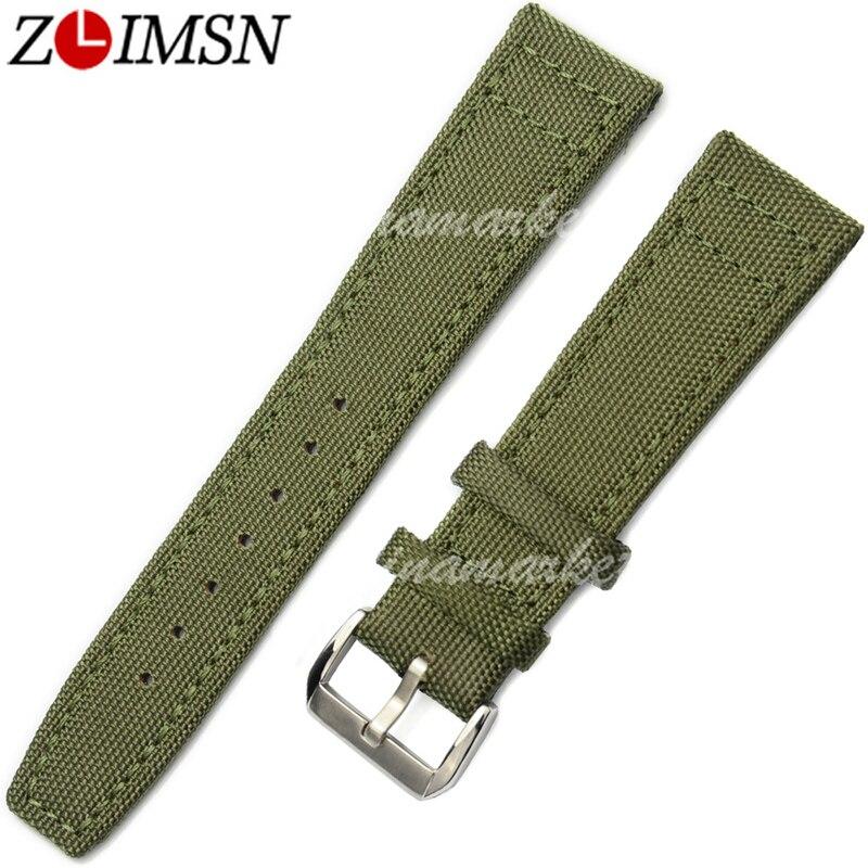 ZLIMSN Nylon Watchbands Leather Watch Straps 20 22mm Green Black Bracelet Belt Men Women Silver Buckle relogio masculino цена