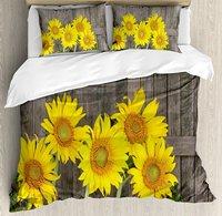 Duvet Cover Set , Helianthus Sunflowers Against Weathered Aged Fence Summer Garden Photo, 4 Piece Bedding Set