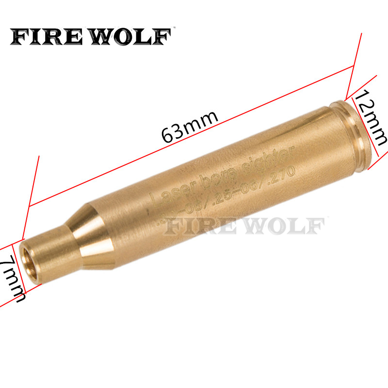 FIRE WOLF Laser Pointer Hunting Golden CAL .30.06/ .25-06 / 270WIN Boresighter Cartridge Red Laser Brass Caliber for Hunting