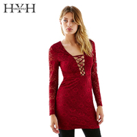 HYH HAOYIHUI Summer V Neck Hollow Out Lace Up Mini Dress Crochet Long Sleeve Pencil Bodycon