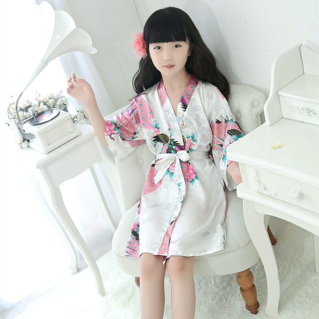 b6cc52f4e3 Robe Satin Children summer Kimono Bath Robes Bridesmaid Flower Girl Dress  Silk children s bathrobe Nightgown Peacock robe Kids