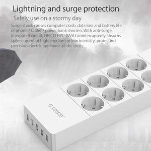 "Image 5 - ORICO כוח רצועת האיחוד האירופי ארה""ב בריטניה תקע חשמל שקע 8 מייצב מתח לשקע חשמל הרצועה עם 5x2.4A USB סופר מטען יציאות"