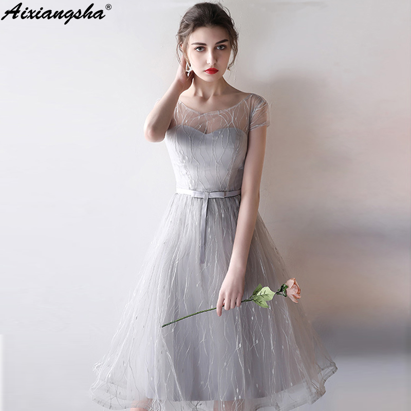 2018 New arrival Scoop Neck Short sleeve Elegant Prom Dresses Knee-Length  Plus Size Customized Fast ...