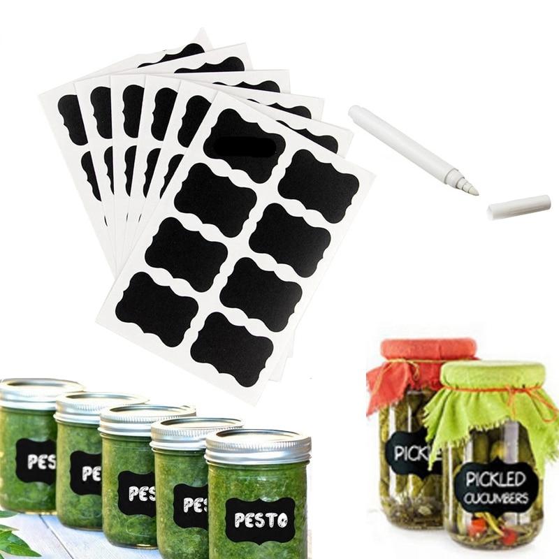 41Pcs/lot Blackboard Stickers Labels DIY White Liquid Chalk Kitchen Spice Jar Salt Pepper Organizer Labels Rewritable Pen Tool