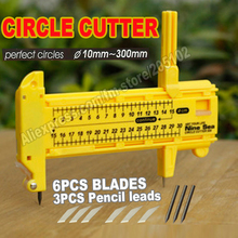 10-300mm Circle Cutter Compasses + 3pcs pencil leads +6pcs blades for clothing tailor Measuring scale Ruler for TOOLS DIY work