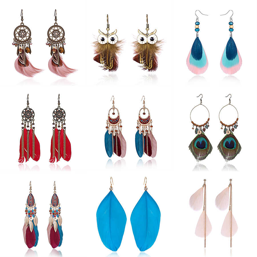 Belleper Long Tassel Fashion Feather Style Ethnic Boho Big Dangle Statement Earring Wedding Earrings Angel Wing Ear Accessories