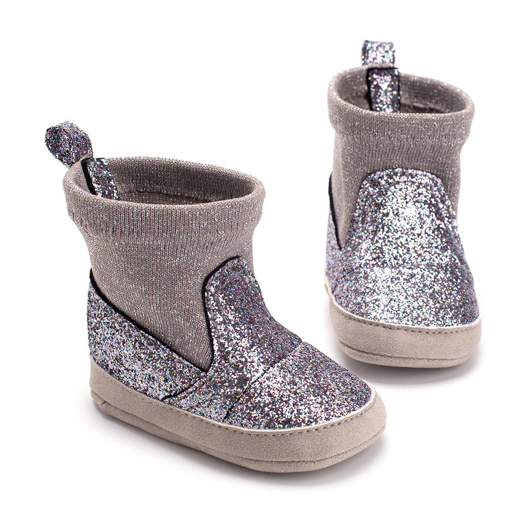 Baby Girls Boys Glitter Sequin Bling Boots Toddler Soft Sole Crib Shoes Infant Nowboen Princess Patchworks Boots 0-18 Months