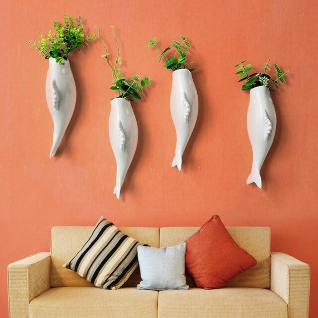 3D керамические стены рыбы декоративные вазы Европейском стиле творческий цветок вставки украшения стены стикеры керамического ремесла home Decor
