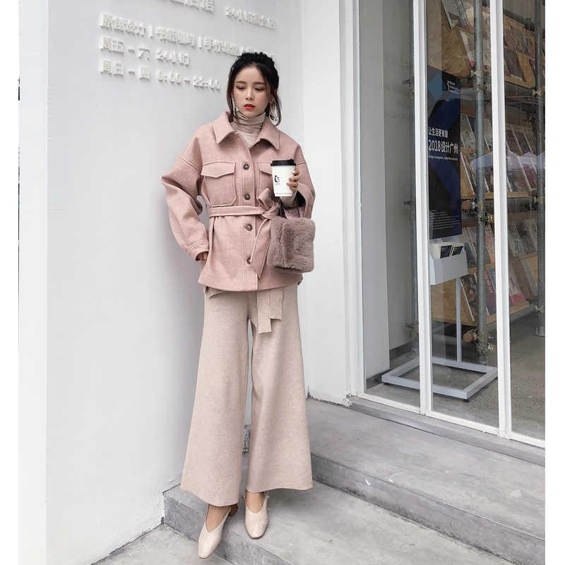 Mishow 2019 Gugur Musim Dingin Sweety Wol Mantel Fashion Kausal Wanita Soild Turndown Collar dengan Sabuk Mantel Tebal MX18D9526